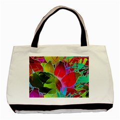Floral Abstract 1 Twin Sided Black Tote Bag by MedusArt