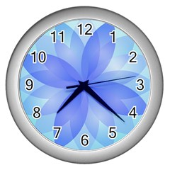 Abstract Lotus Flower 1 Wall Clock (silver) by MedusArt