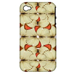 Butterfly Art White&orage Apple Iphone 4/4s Hardshell Case (pc+silicone) by BrilliantArtDesigns