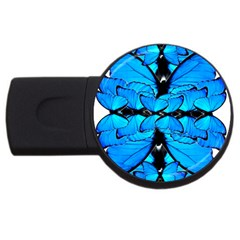 Butterfly Art Blue&cyan 2gb Usb Flash Drive (round) by BrilliantArtDesigns