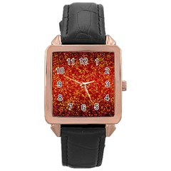 Glitter 3 Rose Gold Leather Watch  by MedusArt