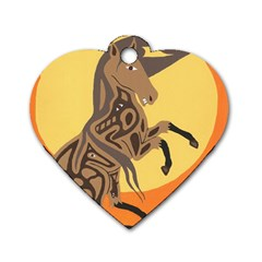 Embracing The Moon Dog Tag Heart (one Sided)  by twoaboriginalart