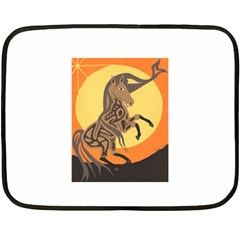 Embracing The Moon Mini Fleece Blanket (two Sided) by twoaboriginalart