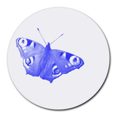 Decorative Blue Butterfly 8  Mouse Pad (round) by Colorfulart23
