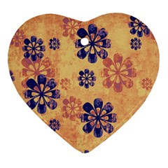 Funky Floral Art Heart Ornament (two Sides) by Colorfulart23