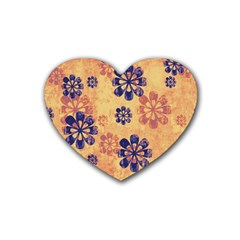 Funky Floral Art Drink Coasters 4 Pack (heart)  by Colorfulart23