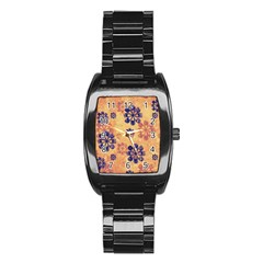 Funky Floral Art Stainless Steel Barrel Watch by Colorfulart23