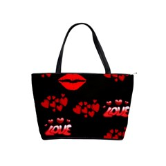Love Red Hearts Love Flowers Art Large Shoulder Bag by Colorfulart23