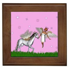 Unicorn And Fairy In A Grass Field And Sparkles Framed Ceramic Tile by goldenjackal
