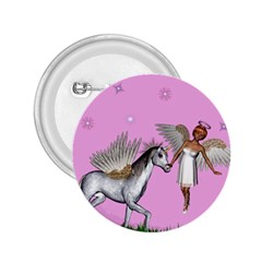 Unicorn And Fairy In A Grass Field And Sparkles 2 25  Button by goldenjackal