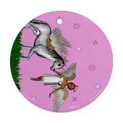 Unicorn And Fairy In A Grass Field And Sparkles Round Ornament by goldenjackal