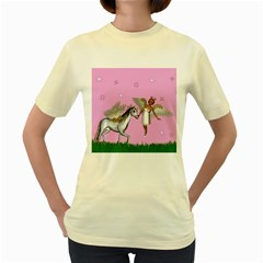 Unicorn And Fairy In A Grass Field And Sparkles Women s T Shirt (yellow) by goldenjackal