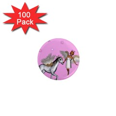 Unicorn And Fairy In A Grass Field And Sparkles 1  Mini Button Magnet (100 Pack) by goldenjackal