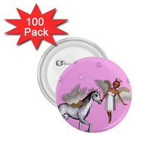 Unicorn And Fairy In A Grass Field And Sparkles 1 75  Button (100 Pack) by goldenjackal
