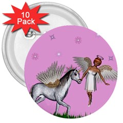 Unicorn And Fairy In A Grass Field And Sparkles 3  Button (10 Pack) by goldenjackal