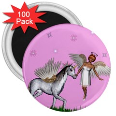Unicorn And Fairy In A Grass Field And Sparkles 3  Button Magnet (100 Pack) by goldenjackal