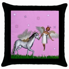 Unicorn And Fairy In A Grass Field And Sparkles Black Throw Pillow Case by goldenjackal
