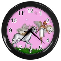 Unicorn And Fairy In A Grass Field And Sparkles Wall Clock (black) by goldenjackal