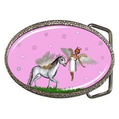 Unicorn And Fairy In A Grass Field And Sparkles Belt Buckle (oval) by goldenjackal