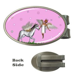 Unicorn And Fairy In A Grass Field And Sparkles Money Clip (oval) by goldenjackal