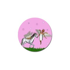 Unicorn And Fairy In A Grass Field And Sparkles Golf Ball Marker 4 Pack by goldenjackal