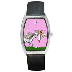Unicorn And Fairy In A Grass Field And Sparkles Tonneau Leather Watch by goldenjackal