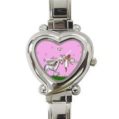 Unicorn And Fairy In A Grass Field And Sparkles Heart Italian Charm Watch  by goldenjackal