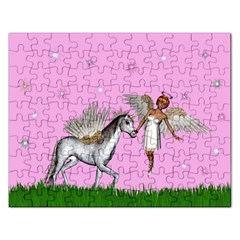 Unicorn And Fairy In A Grass Field And Sparkles Jigsaw Puzzle (rectangle) by goldenjackal