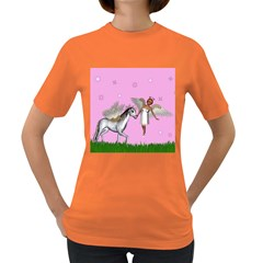 Unicorn And Fairy In A Grass Field And Sparkles Women s T Shirt (colored) by goldenjackal