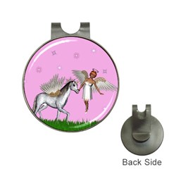 Unicorn And Fairy In A Grass Field And Sparkles Hat Clip With Golf Ball Marker by goldenjackal