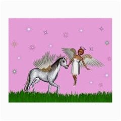 Unicorn And Fairy In A Grass Field And Sparkles Glasses Cloth (small) by goldenjackal