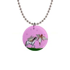 Unicorn And Fairy In A Grass Field And Sparkles Button Necklace by goldenjackal