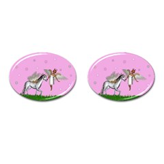 Unicorn And Fairy In A Grass Field And Sparkles Cufflinks (oval) by goldenjackal