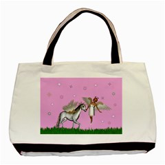 Unicorn And Fairy In A Grass Field And Sparkles Classic Tote Bag by goldenjackal