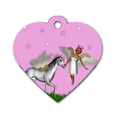 Unicorn And Fairy In A Grass Field And Sparkles Dog Tag Heart (two Sided) by goldenjackal