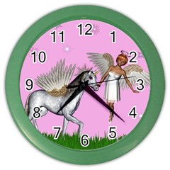 Unicorn And Fairy In A Grass Field And Sparkles Wall Clock (color) by goldenjackal