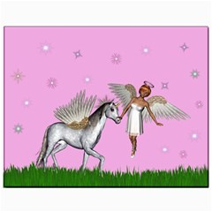 Unicorn And Fairy In A Grass Field And Sparkles Canvas 11  X 14  (unframed) by goldenjackal