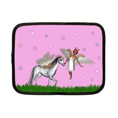 Unicorn And Fairy In A Grass Field And Sparkles Netbook Sleeve (small) by goldenjackal
