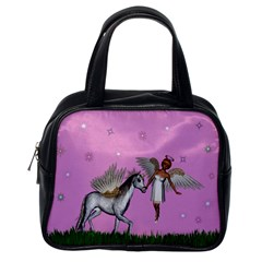 Unicorn And Fairy In A Grass Field And Sparkles Classic Handbag (one Side) by goldenjackal