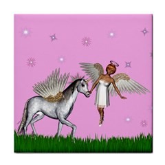 Unicorn And Fairy In A Grass Field And Sparkles Face Towel by goldenjackal