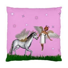 Unicorn And Fairy In A Grass Field And Sparkles Cushion Case (two Sided)  by goldenjackal
