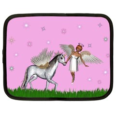 Unicorn And Fairy In A Grass Field And Sparkles Netbook Sleeve (xxl) by goldenjackal