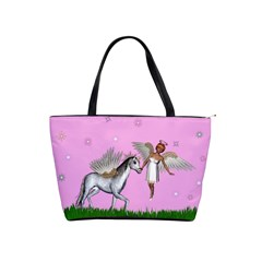 Unicorn And Fairy In A Grass Field And Sparkles Large Shoulder Bag by goldenjackal