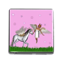 Unicorn And Fairy In A Grass Field And Sparkles Memory Card Reader With Storage (square) by goldenjackal