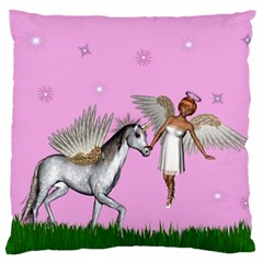 Unicorn And Fairy In A Grass Field And Sparkles Large Cushion Case (two Sided)  by goldenjackal