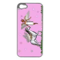Unicorn And Fairy In A Grass Field And Sparkles Apple Iphone 5 Case (silver) by goldenjackal