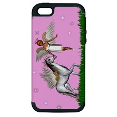 Unicorn And Fairy In A Grass Field And Sparkles Apple Iphone 5 Hardshell Case (pc+silicone) by goldenjackal