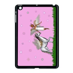 Unicorn And Fairy In A Grass Field And Sparkles Apple Ipad Mini Case (black) by goldenjackal