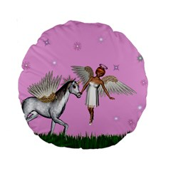 Unicorn And Fairy In A Grass Field And Sparkles 15  Premium Round Cushion  by goldenjackal