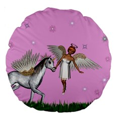 Unicorn And Fairy In A Grass Field And Sparkles 18  Premium Round Cushion  by goldenjackal